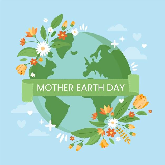 Dzień Matki Ziemi Z Wiosennych Kwiatów Darmowych Wektorów