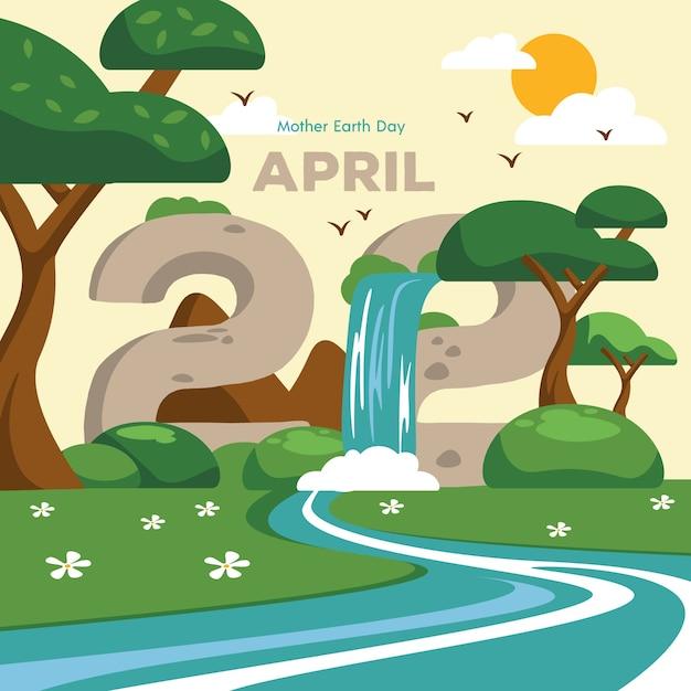 Dzień Matki Ziemi Z Wodospadem Darmowych Wektorów