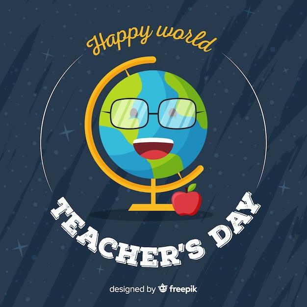 Dzień nauczyciela płaskiego świata buźka ziemi Darmowych Wektorów
