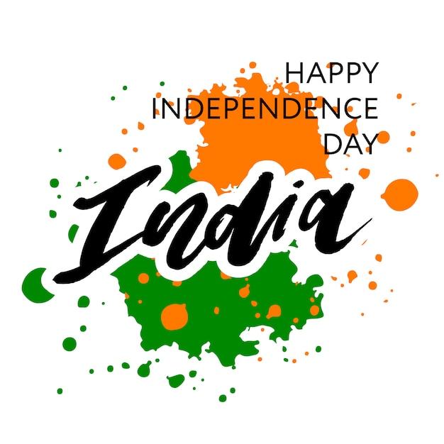 Dzień niepodległości indii 15 sierpnia napis kaligrafia Premium Wektorów