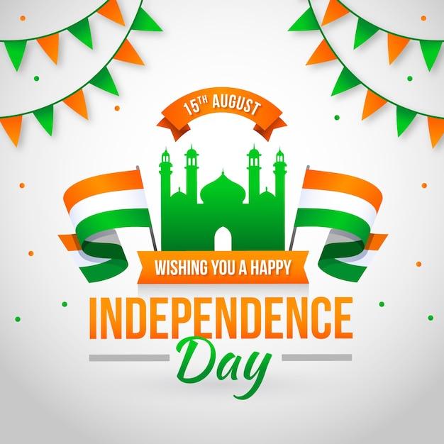 Dzień niepodległości indii tło płaski styl Darmowych Wektorów