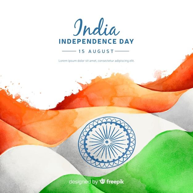 Dzień niepodległości w stylu indyjskim tle akwarela Darmowych Wektorów