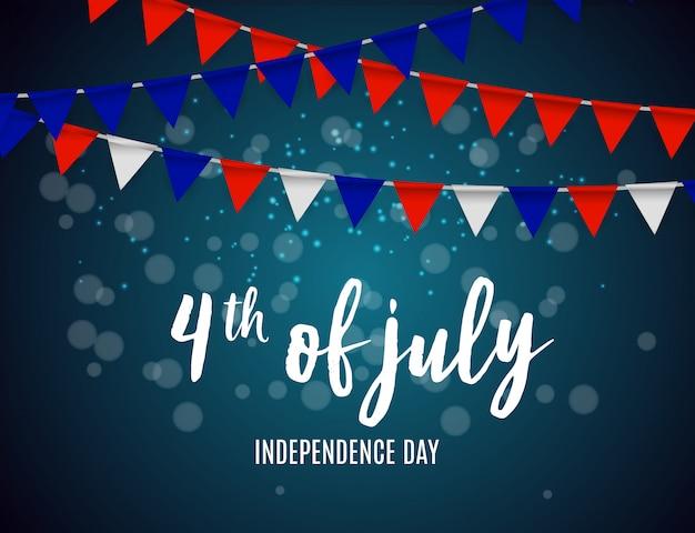 Dzień niepodległości w usa może być używany jako transparent lub plakat Premium Wektorów