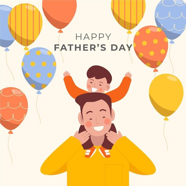 Dzień Ojca Szczęśliwą Rodzinę I Balony Darmowych Wektorów