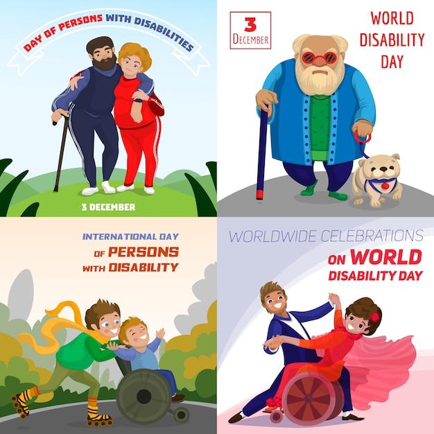 Dzień osób niepełnosprawnych tła Premium Wektorów
