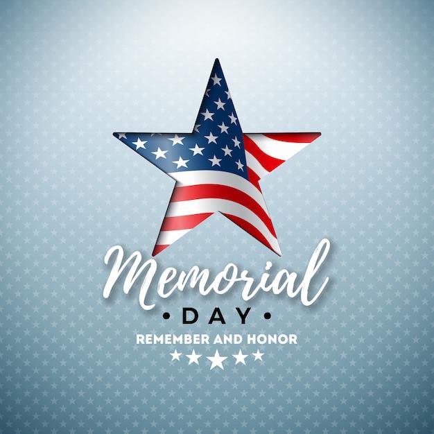 Dzień Pamięci Szablonu Projektu Usa Z Amerykańską Flagą W Symbol Gwiazdy Cięcia Darmowych Wektorów