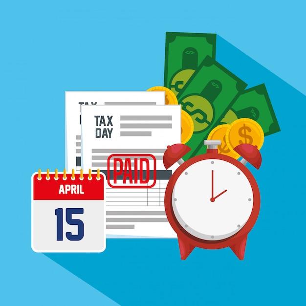 Dzień podatkowy 15 kwietnia. raport podatku od usług finansowych z kalendarzem Darmowych Wektorów