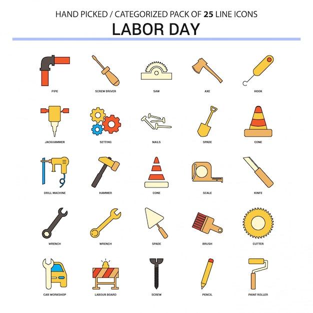 Dzień Pracy Płaska Linia Zestaw Ikon - Biznes Koncepcja Ikony Projektu Darmowych Wektorów
