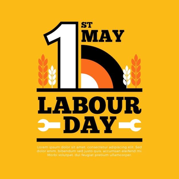 Dzień Pracy W Płaskiej Konstrukcji Darmowych Wektorów