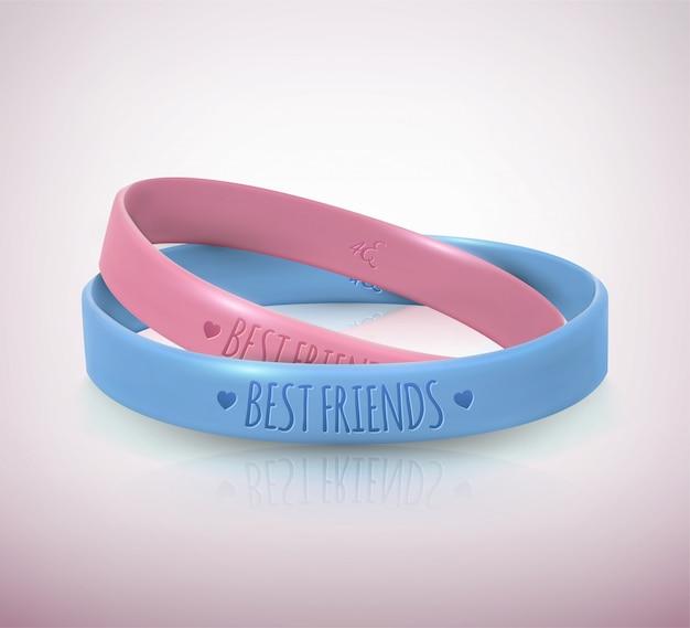 Dzień przyjaźni. dwie gumowe bransoletki dla przyjaciół Premium Wektorów