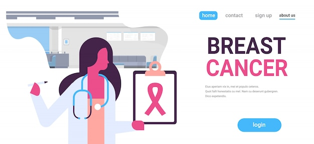 Dzień raka piersi kobieta lekarz trzymając transparent schowka Premium Wektorów
