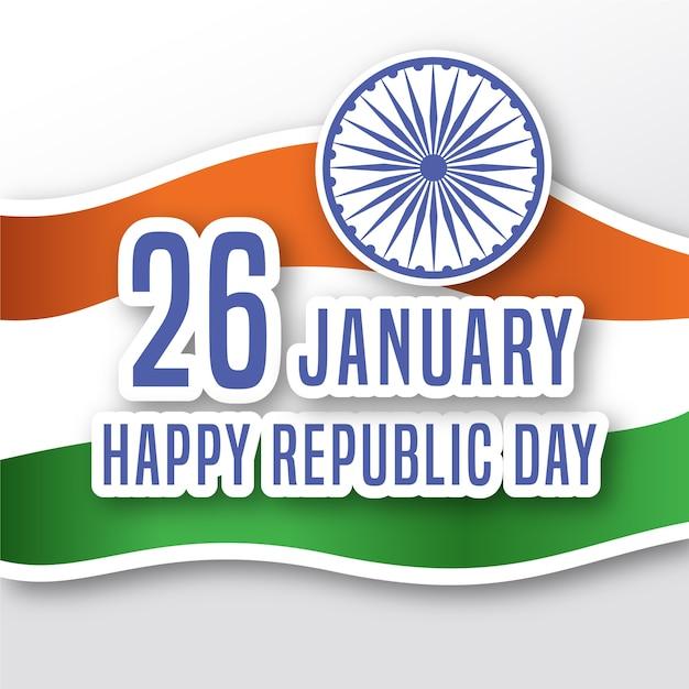 Dzień Republiki Indii W Płaskiej Konstrukcji Darmowych Wektorów
