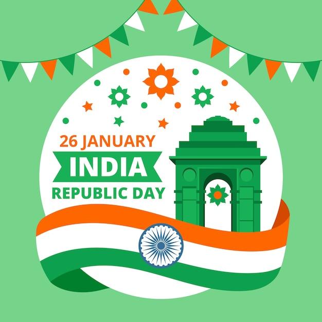 Dzień Republiki Indii Z Flagą I Girlandą Darmowych Wektorów