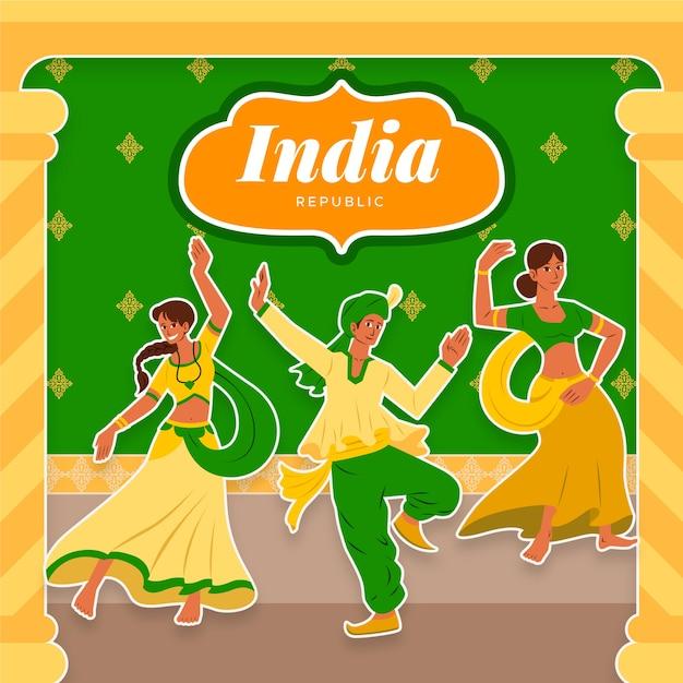 Dzień Republiki Indii Z Tancerzami Darmowych Wektorów