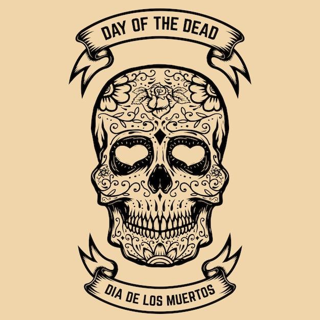 Dzień śmierci. Dia De Los Muertos. Cukrowa Czaszka Z Kwiatowym Wzorem. Element Plakatu, Karty Z Pozdrowieniami. Ilustracja Premium Wektorów