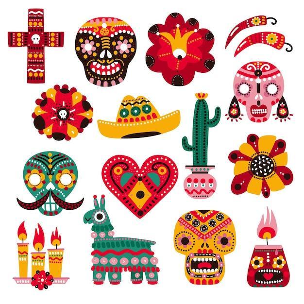 Dzień śmierci. Meksykańskie Elementy świąteczne, Dekoracyjna Maska Czaszki, świeca I Kwiat. Sombrero, Lama I Kaktus. Zestaw Dia De Muertos. Premium Wektorów