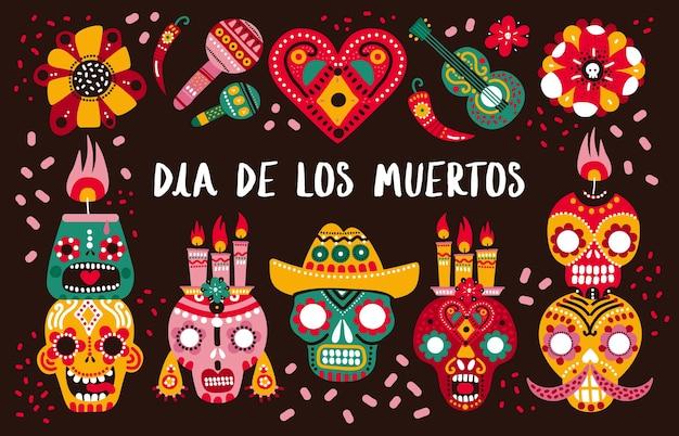 Dzień śmierci. Ozdobne Czaszki, Gitara I świece Oraz Ostra Papryka, Serduszko I Kwiaty. Meksykańska Dia De Los Muertos Premium Wektorów