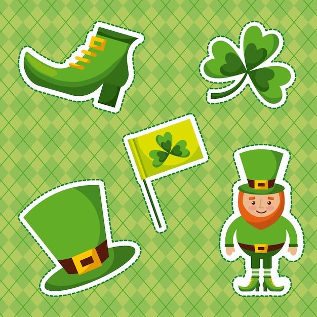 Dzień St Patricks Zestaw Ikon Premium Wektorów