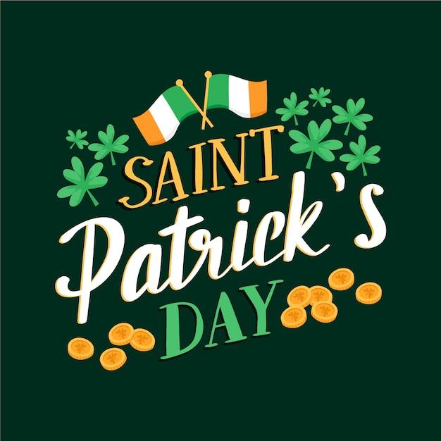 Dzień świętego Patryka Napis Z Flagą Irlandii Darmowych Wektorów