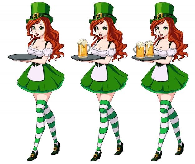 Dzień świętego Patryka Seksowne Dziewczyny Trzyma Zestaw Piwa Premium Wektorów
