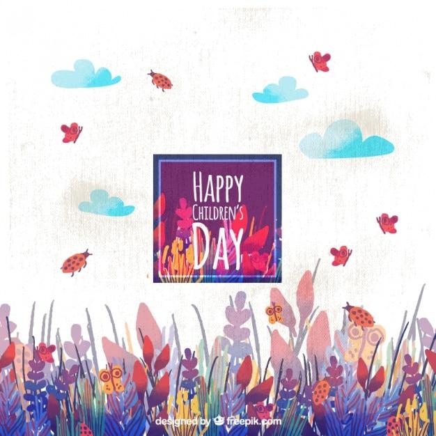 Dzień Szczęśliwy Dzieci Z Motyle I Biedronki Darmowych Wektorów