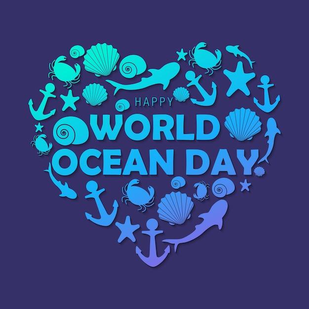Dzień Szczęśliwy Oceanu I Ozdoba Premium Wektorów
