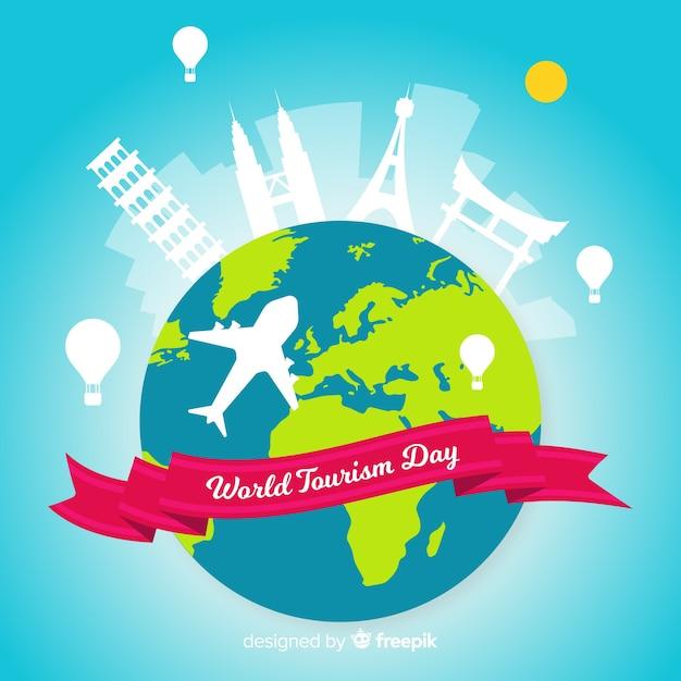 Dzień Turystyki Płaska Konstrukcja Z Zabytków Darmowych Wektorów