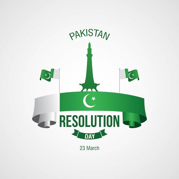 Dzień Uchwały Pakistan Obchodzony W Dniu 23 Marca Premium Wektorów