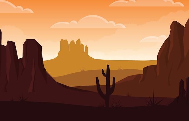 Dzień W Rozległej Pustyni Ameryki Zachodniej Z Kaktusową Horyzont Krajobrazową Ilustracją Premium Wektorów