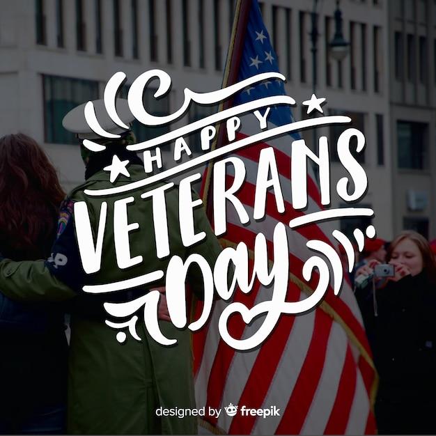 Dzień weteranów napis amerykańską flagę Darmowych Wektorów