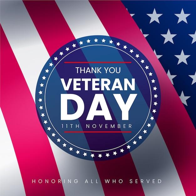 Dzień Weteranów Z Realistyczną Flagą I Okrągłą Odznaką Darmowych Wektorów