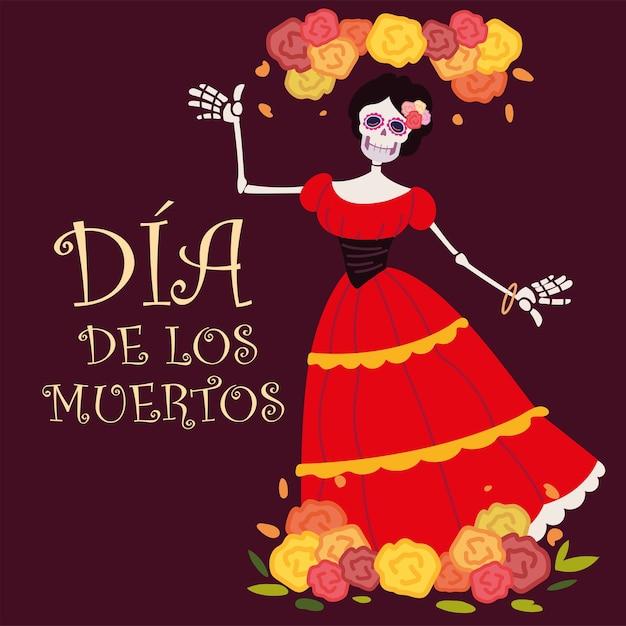 Dzień Zmarłych, Catrina Z Czerwoną Sukienką I Dekoracją W Kwiaty, Meksykańskie świętowanie Premium Wektorów