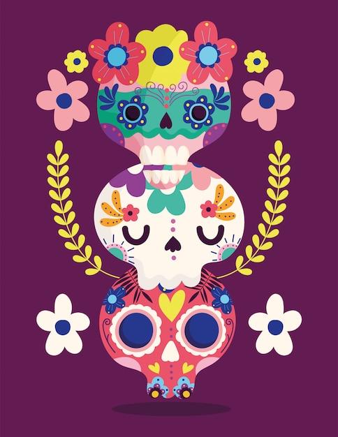 Dzień Zmarłych, Catrinas Kwiaty Dekoracji Tradycyjne Uroczystości Meksykańskie Premium Wektorów