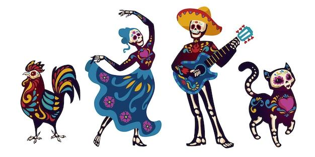 Dzień Zmarłych, Postacie Dia De Los Muertos Tańczące Catrinę Lub Muzyk Mariachi Darmowych Wektorów