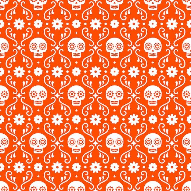 Dzień zmarłych szwu z czaszkami i kwiatami na czerwonym tle. tradycyjny meksykański projekt halloween na przyjęcie świąteczne dia de los muertos. ornament z meksyku. Premium Wektorów