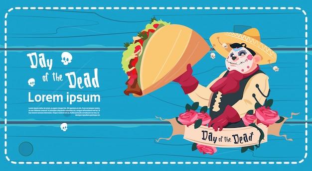 Dzień zmarłych tradycyjne meksykańskie halloween holiday party dekoracja zaproszenie banner Premium Wektorów