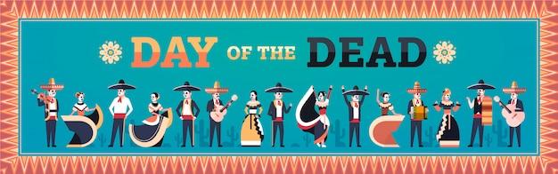 Dzień zmarłych tradycyjne meksykańskie transparent halloween Premium Wektorów