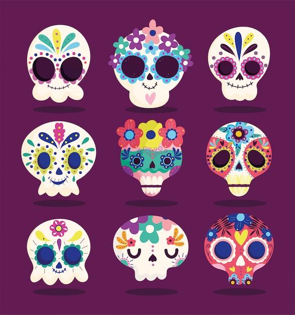 Dzień Zmarłych, Ustaw Katriny Kwiaty Dekoracji Tradycyjne Uroczystości Meksykańskie Premium Wektorów