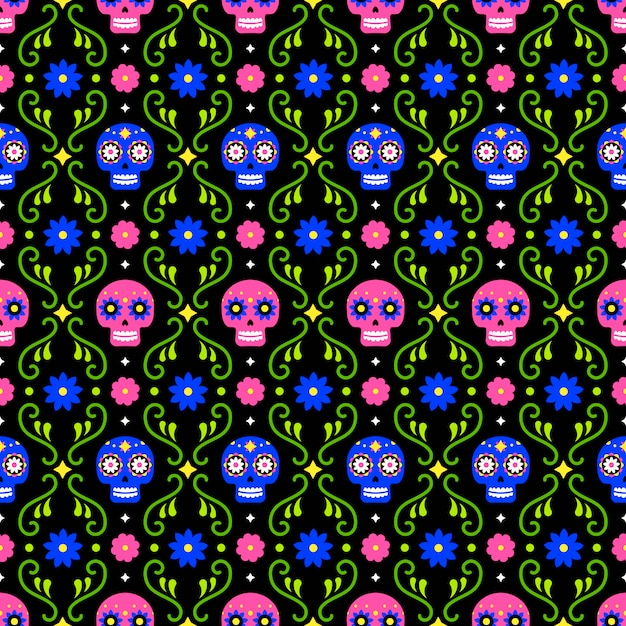 Dzień zmarłych wzór z kolorowe czaszki i kwiaty na ciemnym tle. tradycyjny meksykański projekt halloween na przyjęcie świąteczne dia de los muertos. ornament z meksyku. Premium Wektorów