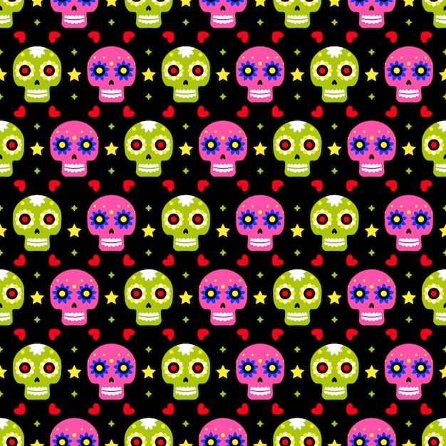 Dzień zmarłych wzór z kolorowych czaszek na ciemnym tle. tradycyjny meksykański projekt halloween na przyjęcie świąteczne dia de los muertos. ornament z meksyku. Premium Wektorów
