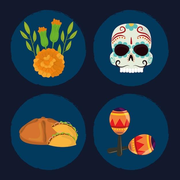 Dzień Zmarłych, Zestaw Ikon, Czaszki, Chleb, Kwiaty I Marakasy, Ilustracja Wektorowa Meksykańskiej Celebracji Premium Wektorów