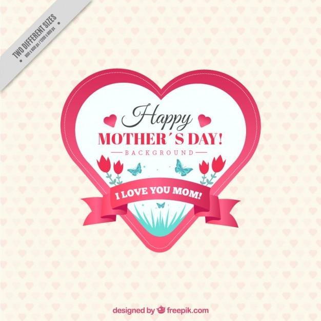 Dzień Znaczek Rocznika Serca Matki Kształcie Darmowych Wektorów