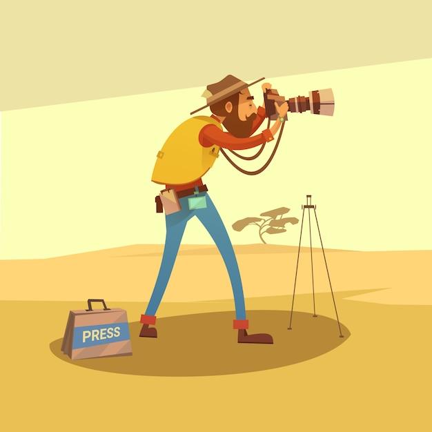Dziennikarz w suchej pustyni robi fotografiom z kamery kreskówki wektoru ilustracją Darmowych Wektorów