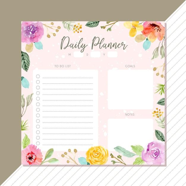 Dzienny terminarz z kwiatów tle akwarela rama Premium Wektorów