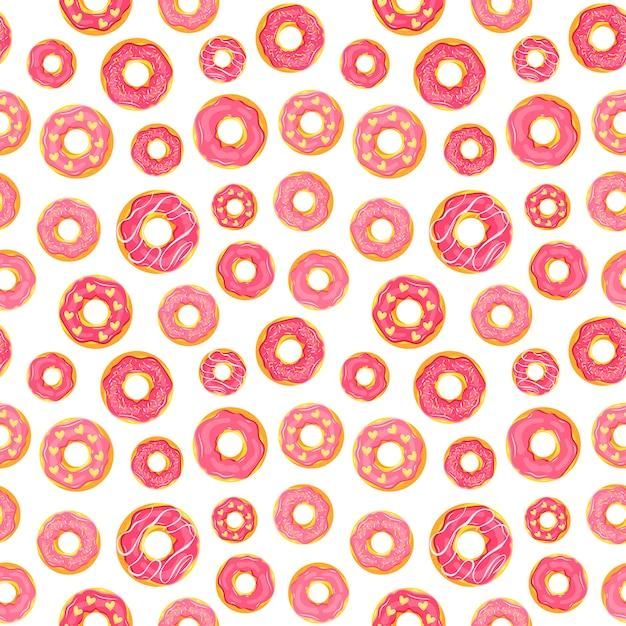 Dziewczęcy Wzór Z Przeszklonymi Pączkami W Różowych Kolorach. Premium Wektorów