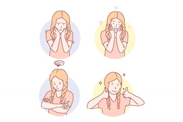 Dziewczyn Emocjonalni Wyrazy Twarzy Ustawiają Ilustrację Premium Wektorów