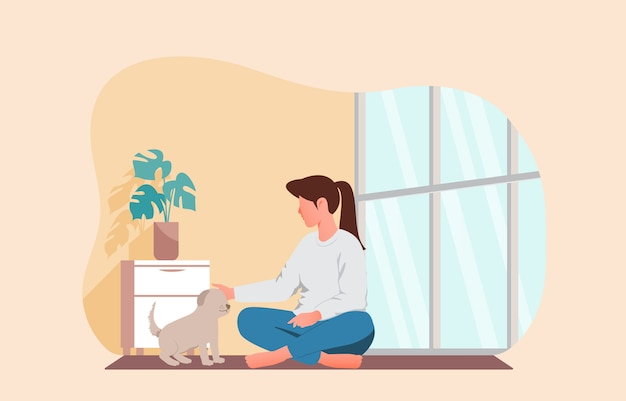 Dziewczyna Bawi Się Ze Swoim Zwierzakiem. Pozostać W Domu Ilustracji Wektorowych Premium Wektorów