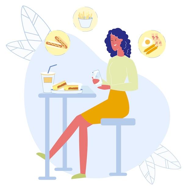 Dziewczyna bierze lunch fotografii płaską wektorową ilustrację Premium Wektorów