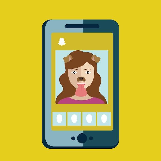 Dziewczyna biorąc zdjęcie z filtrem psa na snapchat, aplikacja telefonu, snapchat Premium Wektorów