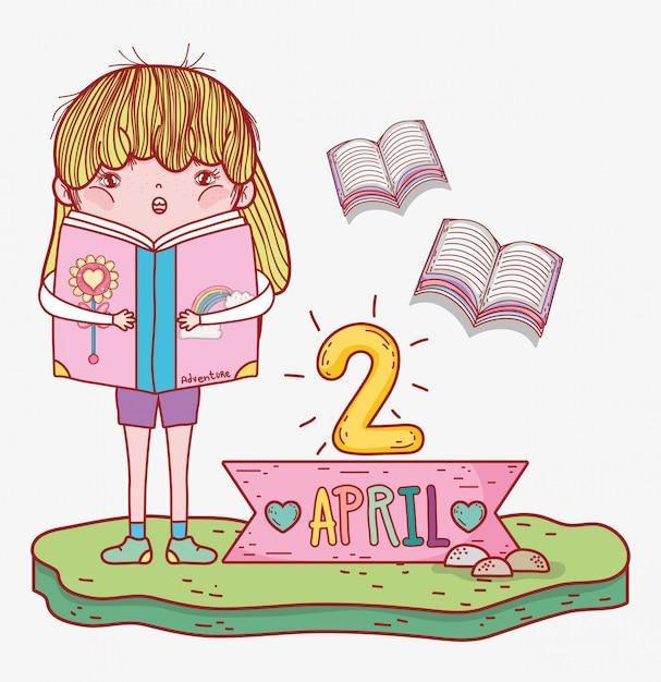 Dziewczyna czyta informacje o książkach do dnia literatury Premium Wektorów